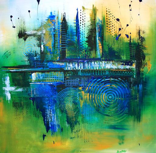 17 Handgemaltes Unikat abstrakt - Balance - blau grün gelb
