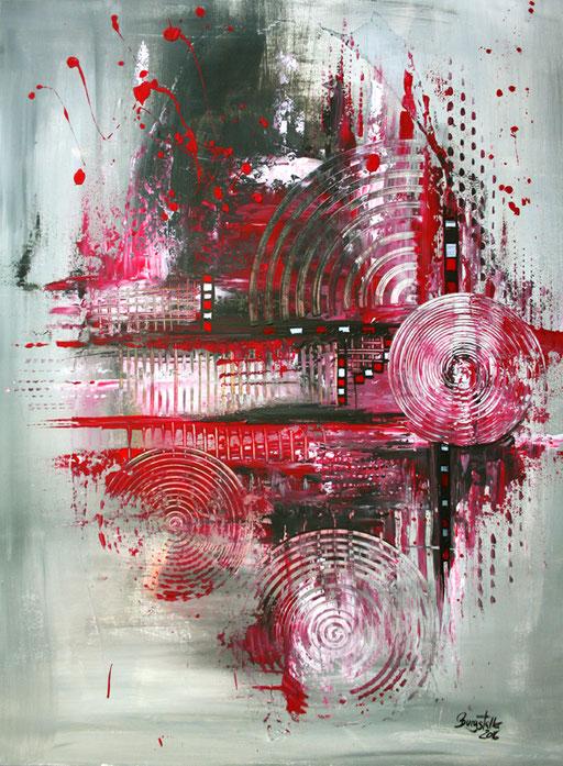 131 Verkaufte abstrakte Bilder - Navigation gemalt - rot grau