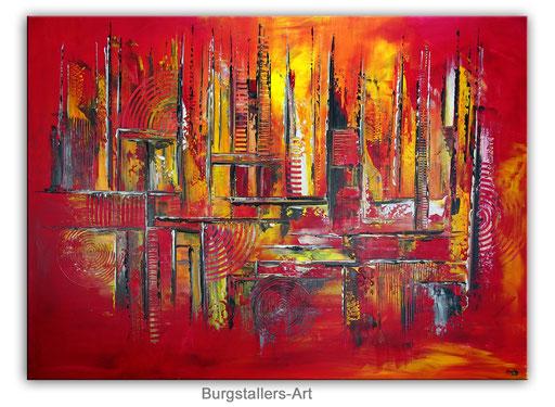 316 - Fegefeuer - abstraktes GEmälde gelb rot 116x81