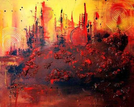 87 abstraktes Unikat handgefertigt - Berge - rot gelb