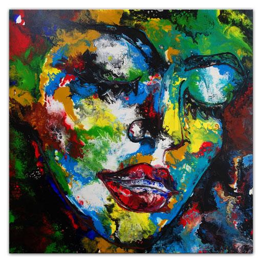 P112 Porträt Malerei Fluid Art Pouring Frauen Gesichter