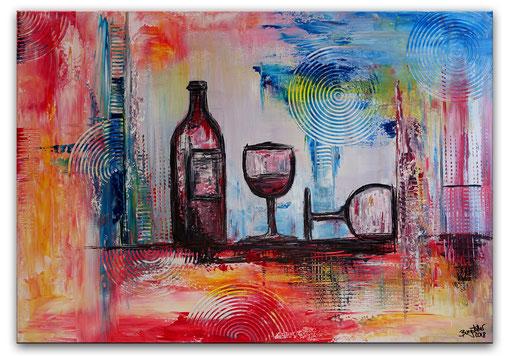 292 - Weingläser 3 Wein Flasche handgemalt abstrakt