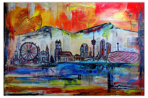 S 61 - Gemälde München Skyline mit BMW, Allianz Arena, Kirche
