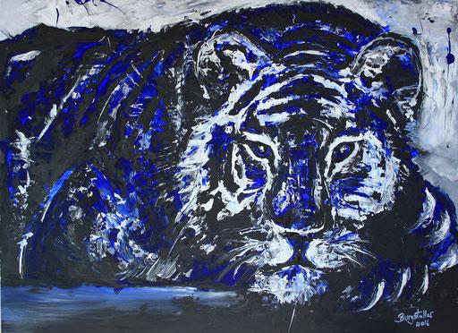 T 21 - Tierbilder Malerei Tiere - Tiger ruhend