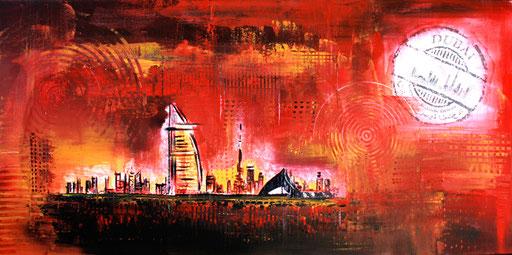 S 10 - Stadtbilder auf Leinwand - Dubai rot
