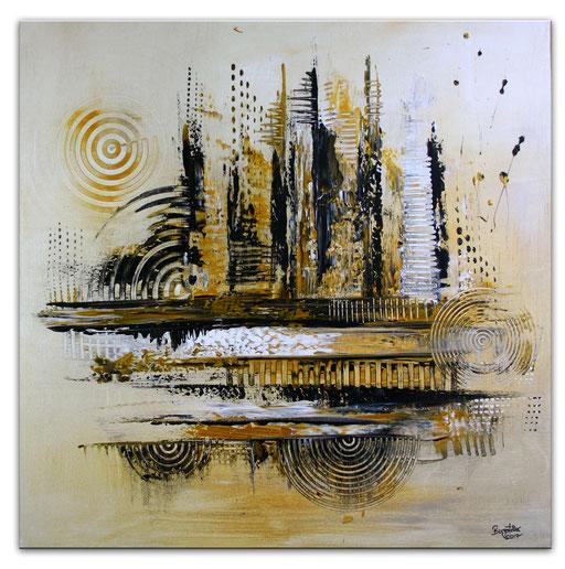 241 Verkaufte abstrakte Malerei gold silber quadratisch