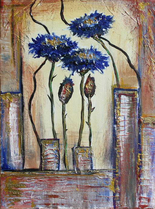 B 48 - Blumen Malerei Blumengemälde handgemalt Kornblumenbild