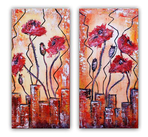 B 28 - Blumenbilder auf Leinwand - zweiteilig rote Mohblumen