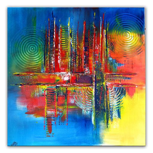 282 - Abstrakte Gemälde Verkauft - blau gelb rot