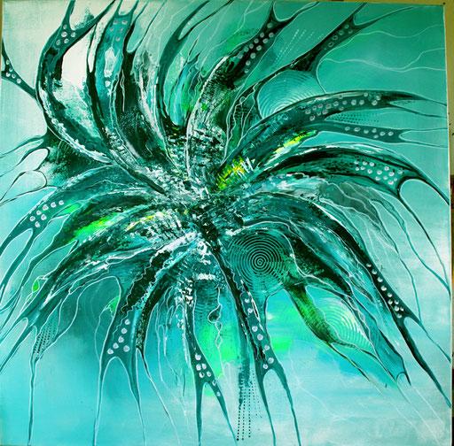 174 Verkaufte Bilder abstrakt - Sog grün türkis gemalt