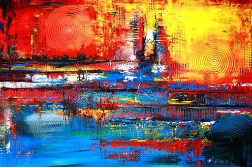 91 abstraktes Unikat handgefertigt - Inferno - blau gelb rot Malerei