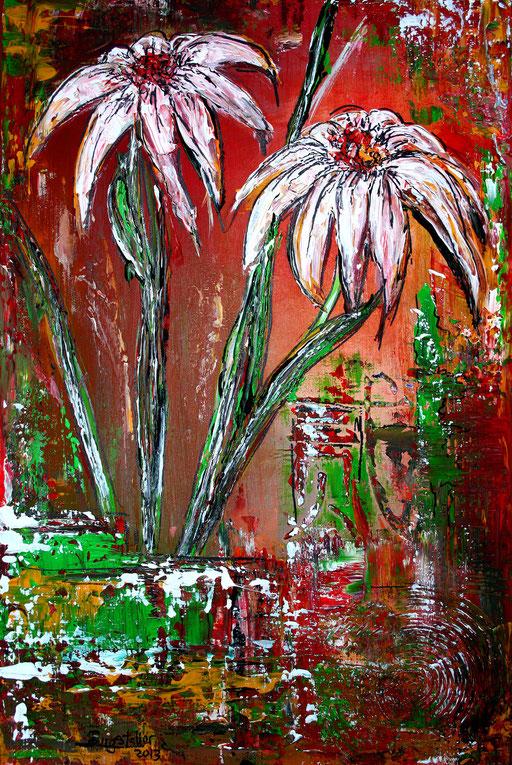 B 47 - Blumen Malerei Blumengemälde handgemalt Sonnenhut abstrakt