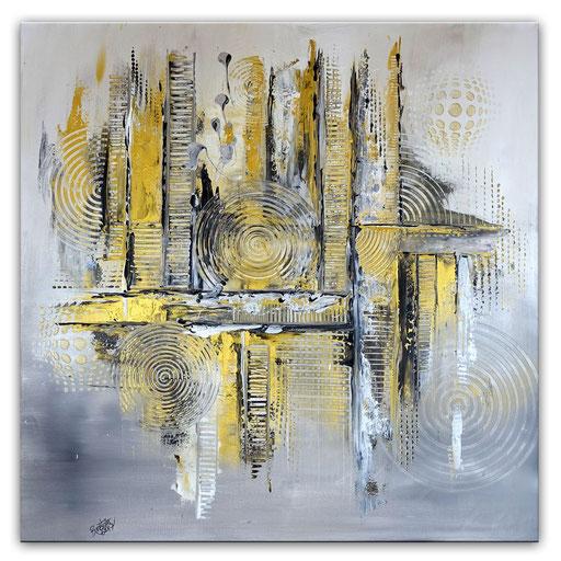 243 Verkaufte abstrakte Malerei silber gold grau leinwand