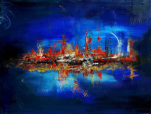 88 abstraktes Unikat handgefertigt - Höhlenwelt - blau gelb rot