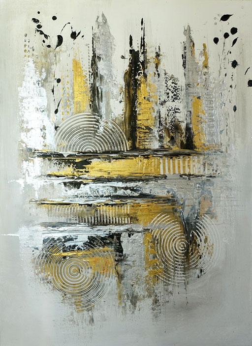 85 abstraktes Unikat handgefertigt - Heller - silber gold gemalt