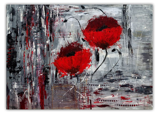 B 40 - handgemalte Blumenbilder Blumen Gemälde Mohnblumen grau rot