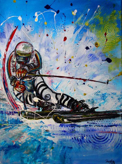 S 19- Sport Gemälde Skifahrer Leinwandbild - Skiläufer