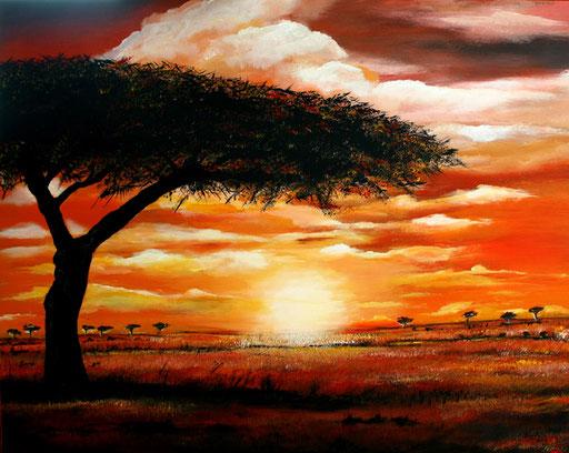 L 3 - Landschaftsbilder Gemälde - Sonnenuntergang Baum