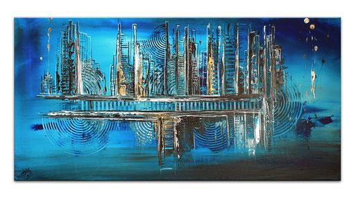 297 - Abstraktes Gemälde blau gold ocker 50x100cm