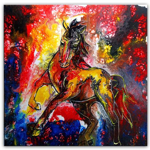 T42 Wilder Hengst Liquid Painting Original Gemälde