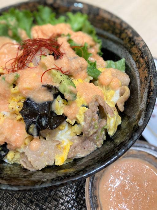 豚肉ときくらげの卵炒め丼