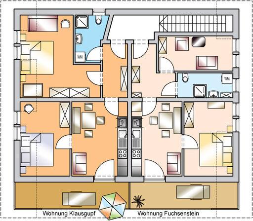 flat Haus Spannbauer: ichnography flat Klausgupf & flat Fuchsenstein