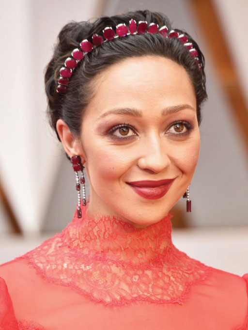 Ruth Negga wore Irene Neuwirth featuring Gemfields responsibly sourced Mozambican rubies