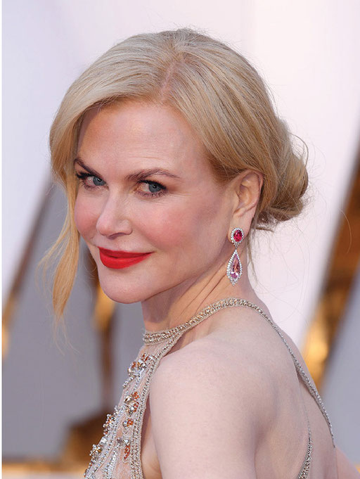 Nicole Kidman wore more than 119 carats of Harry Winston jewels and even added a bit of color with Winston Cluster Diamond and Spinel Drop Earrings in platinum and 18k yellow gold