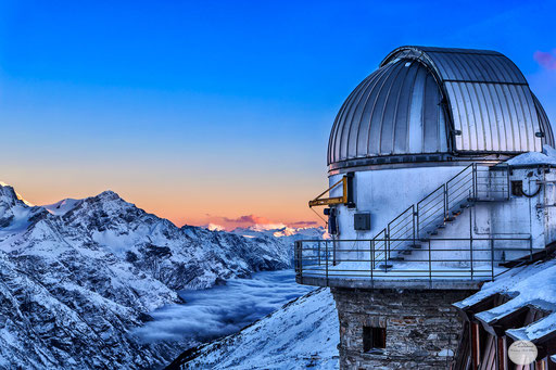 "Bild: telescope view Kulm-Hotel, Gornegrat, Zermatt, Switzerland, ""telescope morning view""; www.2u-pictureworld.de"