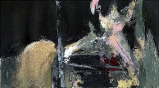 Blackfield XX, Kreide auf Papier, 2017, 25 x 14 cm