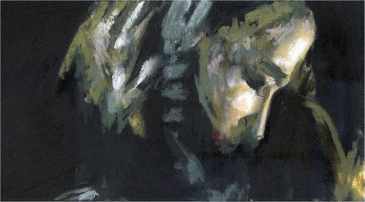 Blackfield XXII, Kreide auf Papier, 2017, 25 x 14 cm