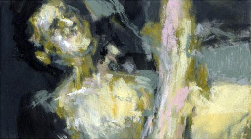 Blackfield XXXIII, Kreide auf Papier, 2017, 25 x 14 cm