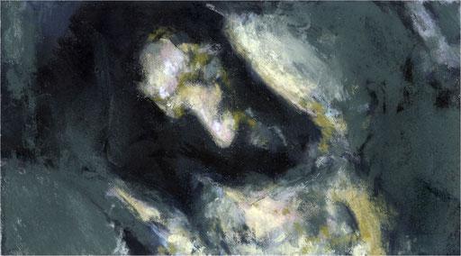 Blackfield XXVI, Kreide auf Papier, 2017, 25 x 14 cm