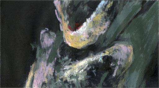 Blackfield XIX, Kreide auf Papier, 2017, 25 x 14 cm