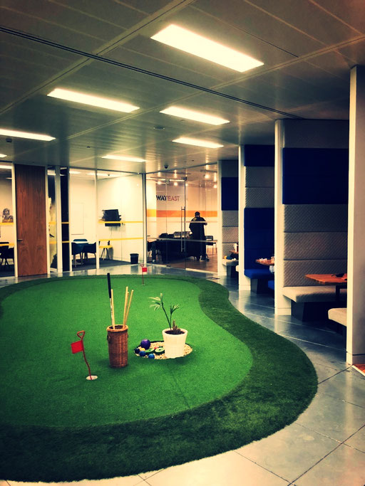 Who wants to play mini golf? More play areas at the co-working space Runway East in Shoreditch, London