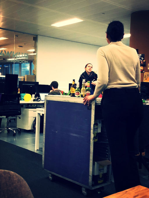 Someone wants a drink? Friday afternoons at the co-working space Runway East in Shoreditch, London