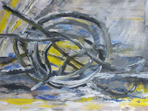 Strandgut, 2012, Acryl auf Papier, 65 x 55 cm