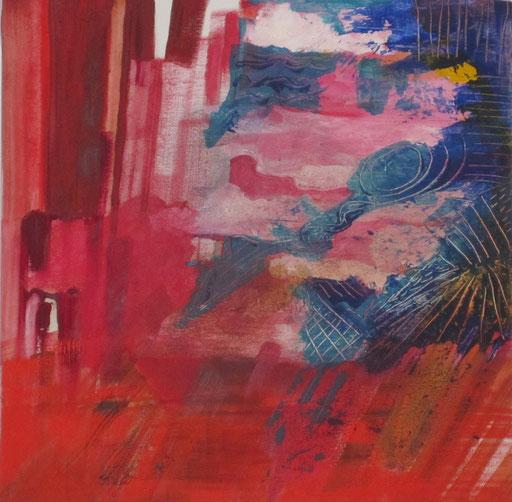 Blick aus rotem Fenster, 2013, Acryl auf Leinwand, 40 x 30 cm