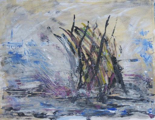 Sandsturm, 2012, Acryl auf.Papier, 65 x 55 cm