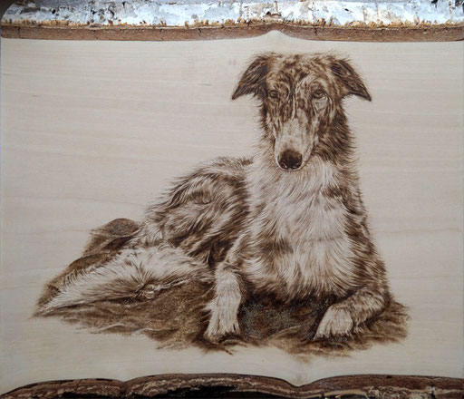 "Portrait ""Kalina"" in Brandmalerei, Birkenholz ca. 25x30 cm"