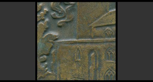 Plakette St. Peter, Köln, 1977 (Detail, Rückseite)