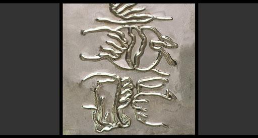 »Mit den Hungrigen sein Brot teilen, Bedürftige kleiden und den Durstigen erfrischen« (Detail) Tabernakeltür, Treibarbeit in Silber, 1968