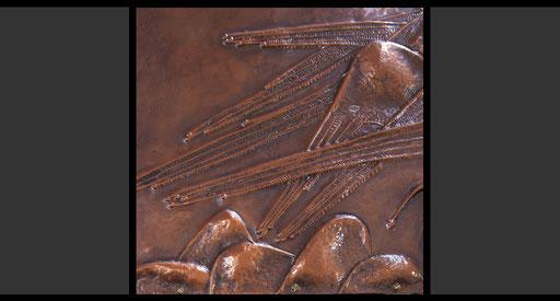 »Die vier geflügelte Wesen« (Detail) Tabernakelumkleidung, Treibarbeit in Kupfer, 1953-54