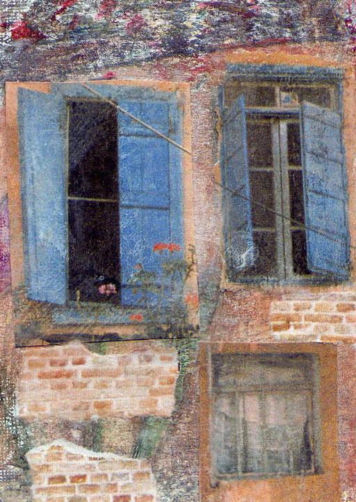 Crete windows, 2 photo transfer on card, coloured pencil