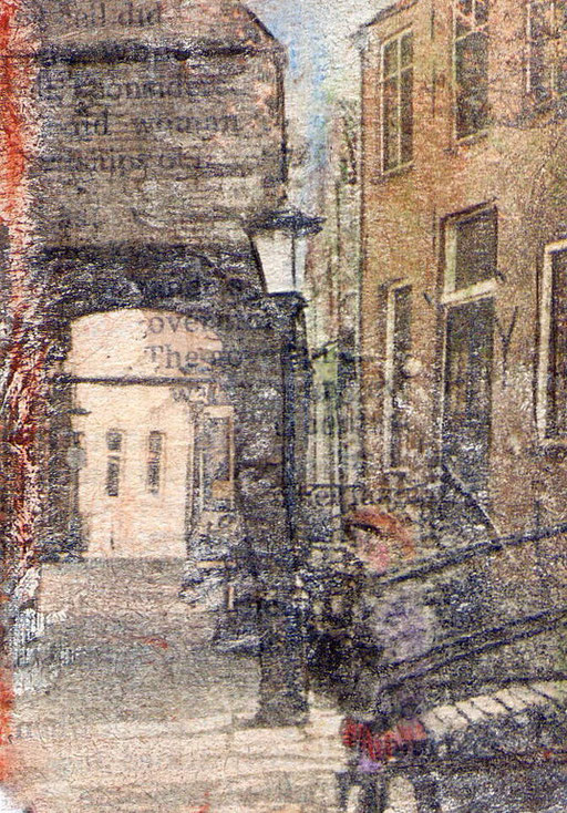 Delft Spirit Child, photo transfer on card, coloured pencil