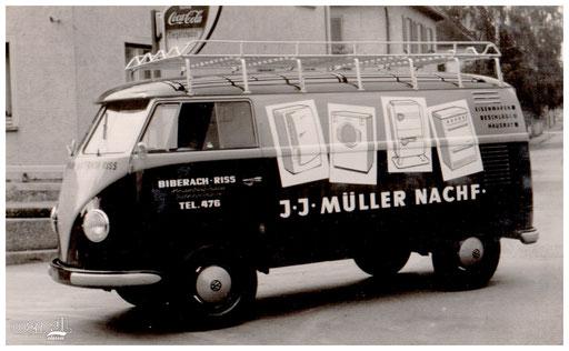 Fahrzeugbeschriftung eines Biberacher Haushaltswarenhändlers.