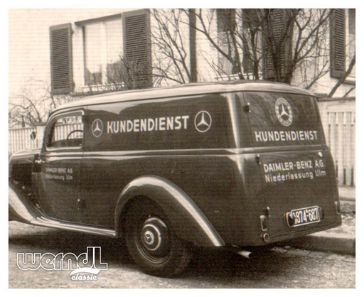Ein klassischer Mercedes-Benz als Kundendienstfahrzeug.