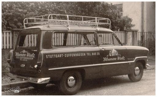 Fahrzeugbeschriftung eines Stuttgarter Blumenhändlers.