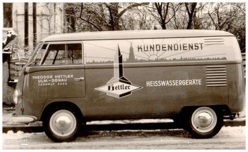 Kundendienstfahrzeug der Firma Hettler Heißwassergeräte.