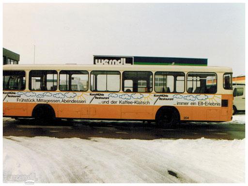 Busbeschriftung aus vergangenen Tagen.
